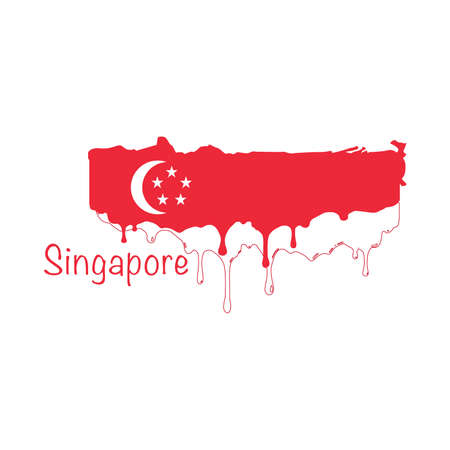 Painted Singapore flag, Singapore flag paint drips. Stock vector illustration isolated on white background