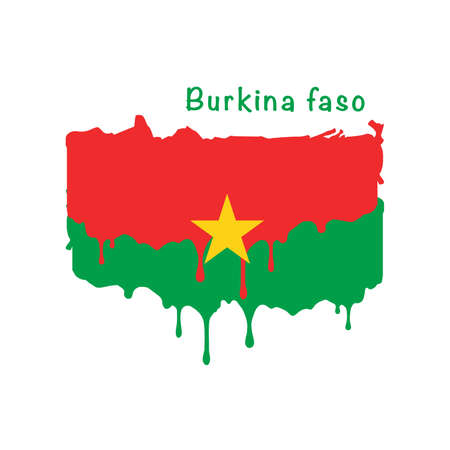 Painted Burkina faso flag, flag paint drips. Stock vector illustration isolated on white background