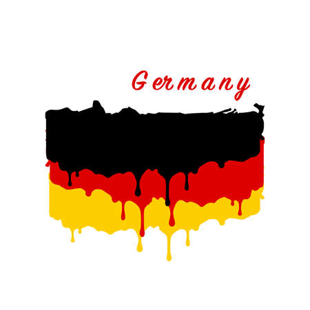 Painted Germany flag, Germany flag paint drips. Stock vector illustration isolated on white background