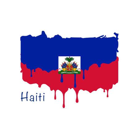 Painted Haiti flag, Haiti flag paint drips. Stock vector illustration isolated on white background  イラスト・ベクター素材