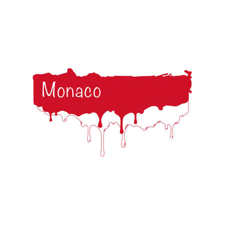 Painted Monaco flag, Monaco flag paint drips. Stock vector illustration isolated on white background