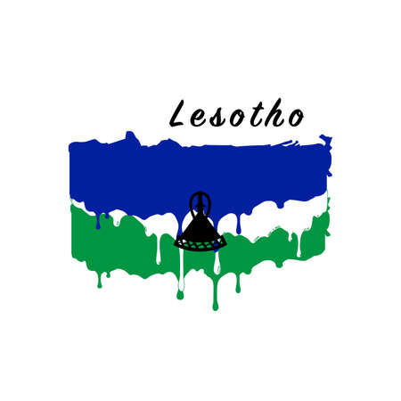 Painted Lesotho flag, Lesotho flag paint drips. Stock vector illustration isolated on white background