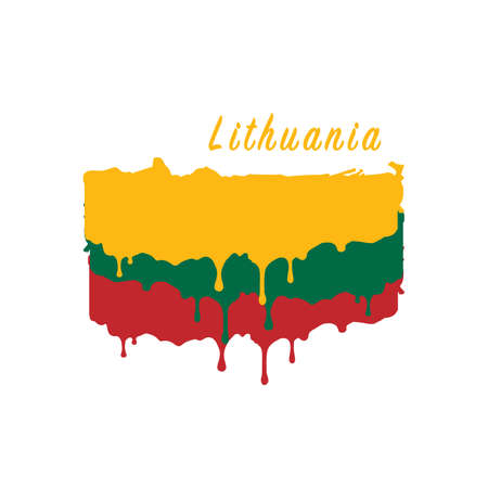 Painted Lithuania flag, Lithuania flag paint drips. Stock vector illustration isolated on white background  イラスト・ベクター素材