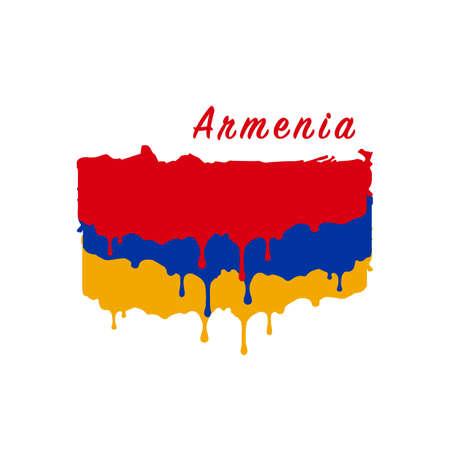 Painted Armenia flag, Armenia flag paint drips. Stock vector illustration isolated on white background