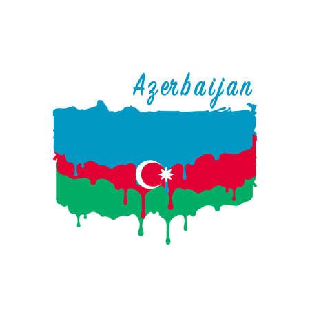 Painted Azerbaijan flag, Azerbaijan flag paint drips. Stock vector illustration isolated on white background