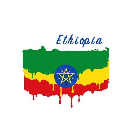 Painted Ethiopia flag, Ethiopia flag paint drips. Stock vector illustration isolated on white background