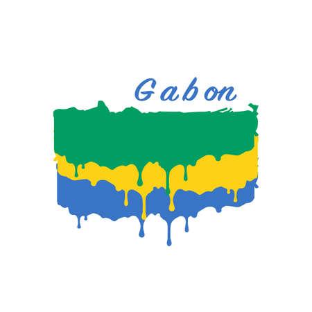 Painted Gabon flag, Gabon flag paint drips. Stock vector illustration isolated on white background