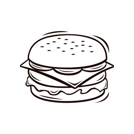 Burger line art vector Stock Illustratie