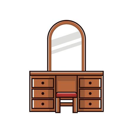 dresser: Dresser table illustration vector