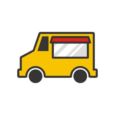 Voedsel vrachtwagen logo vector Stockfoto - 67665175