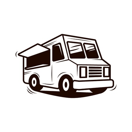 Food truck line art vector