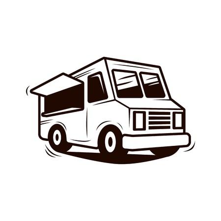 Food truck line art vector