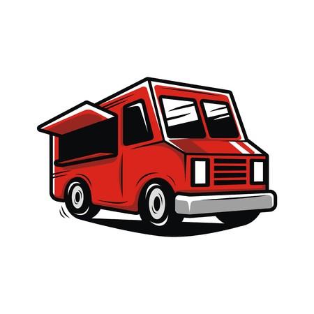 Red food truck illustration vector