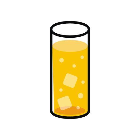 オレンジ色の飲み物イラスト  イラスト・ベクター素材