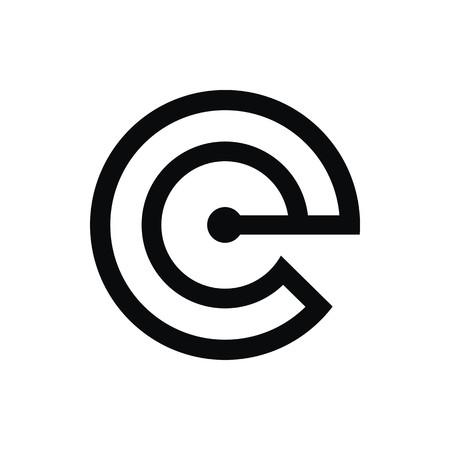 E initial logo flat and isolated on white background Illustration