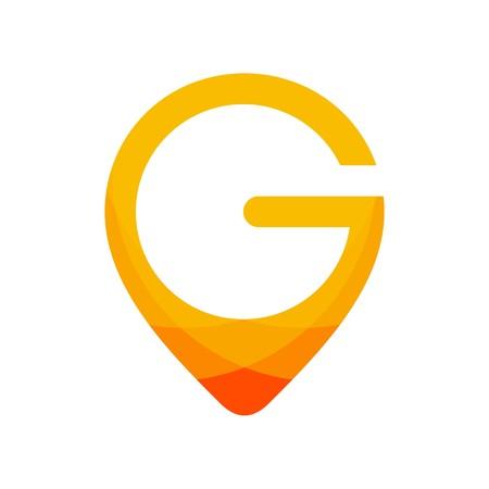 편지 G 초기 로고 디자인 일러스트