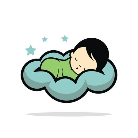 Sleep baby icon on white background, vector illustration.