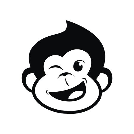 Head of a monkey on white background, vector illustration.
