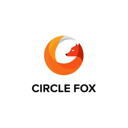 Circle Fox logo design Illustration