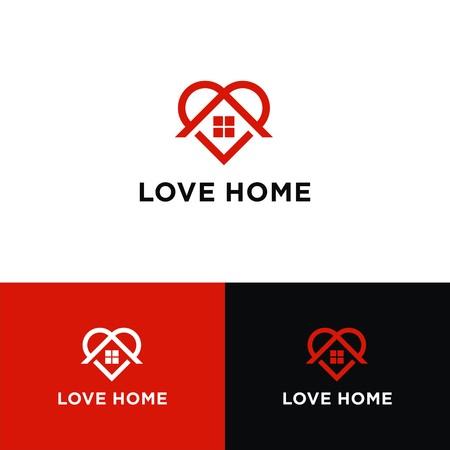 Love Home logo design Illustration
