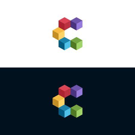 Illustration de conception de logo cube idéal pour le logo sur un fond uni.