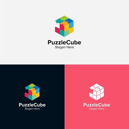 Puzzle cube logo design illustration good for logo on a plain background.