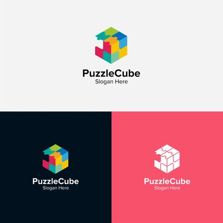 Puzzle cube logo design illustration good for logo on a plain background.