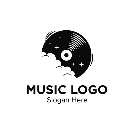 Ilustración de diseño de logotipo de música buena para el logotipo en un fondo liso.