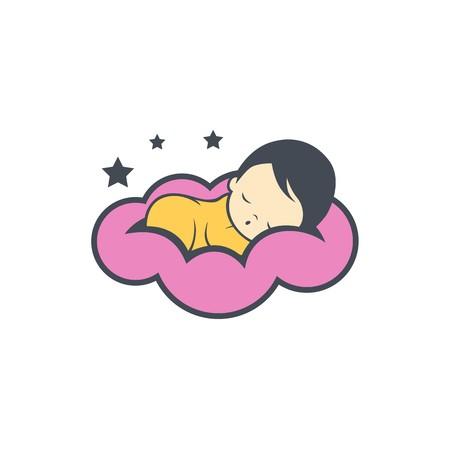 Sleep baby logo design Vector illustration.