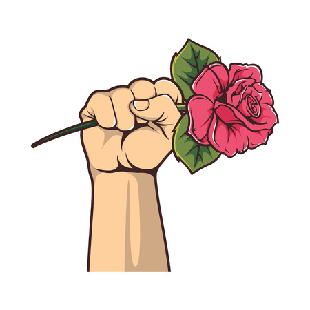 A clenched fist holding a rose illustration vector