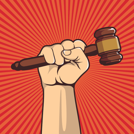 A clenched fist held high in protest holding a judge hammer