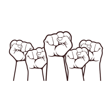 Clenched fist held high in protest