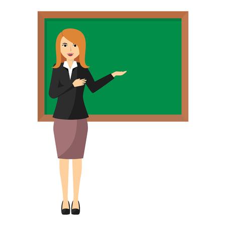 Vector illustration of Cartoon female teacher standing next to a blackboard