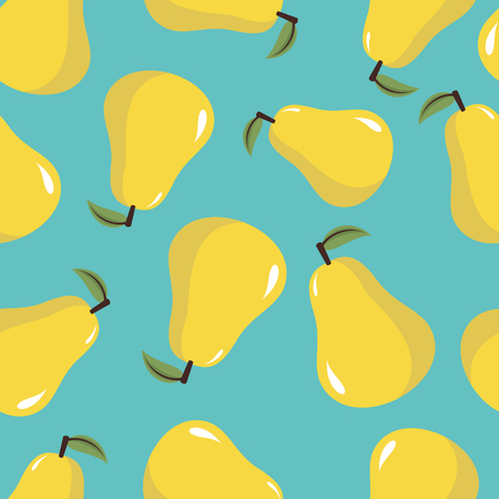 Seamless vector pattern with yellow pears on the turquoise background