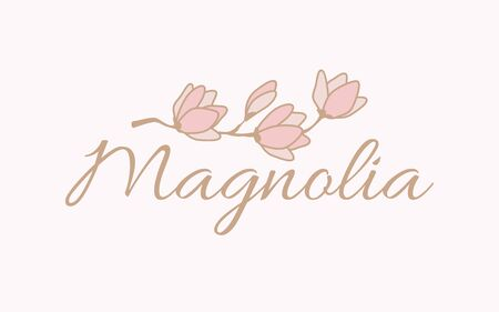 Magnolia banner design illustration.