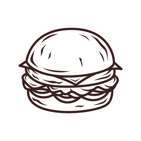 Burger outline sketch vector Reklamní fotografie - 97370284