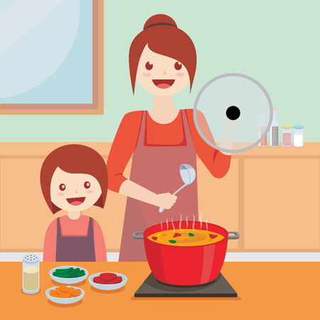 Illustration vector of mom and her daughter cooking in the kitchen