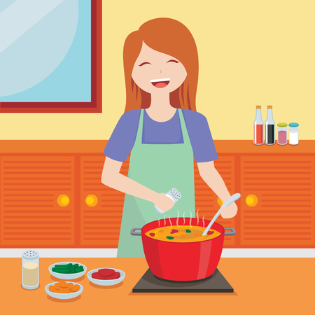 Vector illustration of a cheerful woman cooking in the kitchen