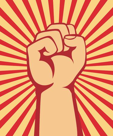 A clenched fist held raised in the air, poster style vector Vettoriali