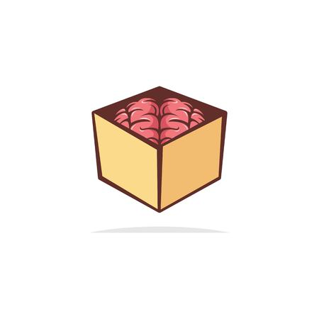 Brain box logo design  イラスト・ベクター素材