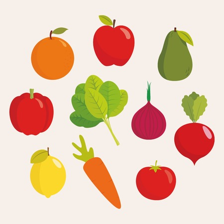 Fruits and vegetables vector illustration  イラスト・ベクター素材