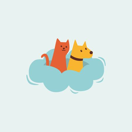 Cat and dog in the cloud logo design