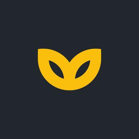 Leaf logo design isolated on dark background  イラスト・ベクター素材