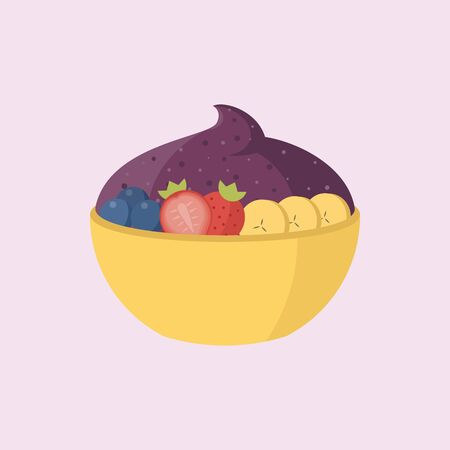 Acai in the bowl vector illustration Ilustrace