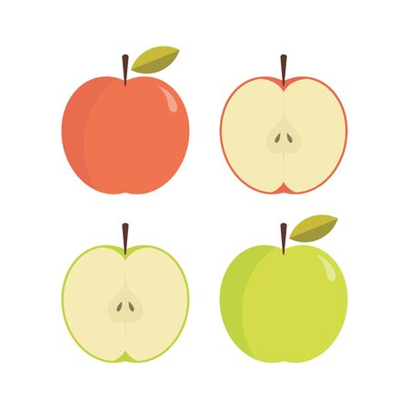 Red and green apple whole and slices vector illustration