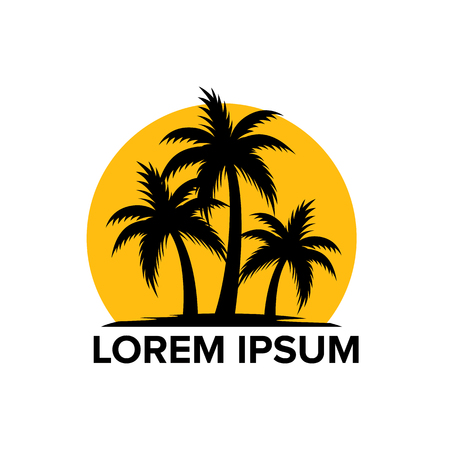 Beach tourism logo with coconut trees