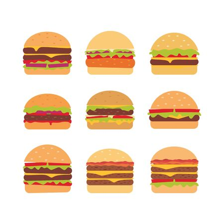 Set of burger illustration 写真素材 - 132368121