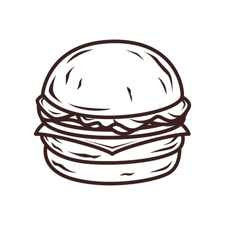 Burger outline sketch 写真素材 - 132368123