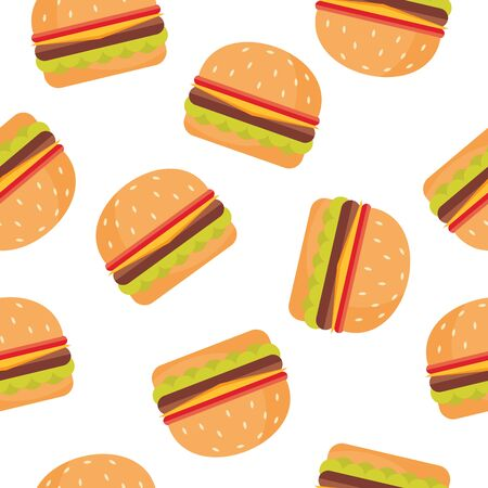Seamless pattern with burger  イラスト・ベクター素材