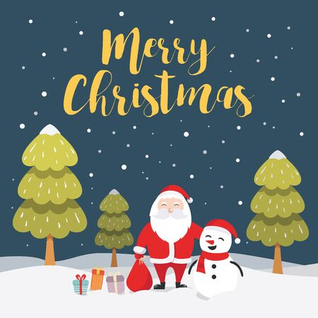 Merry Christmas illustration with santa claus and snowman